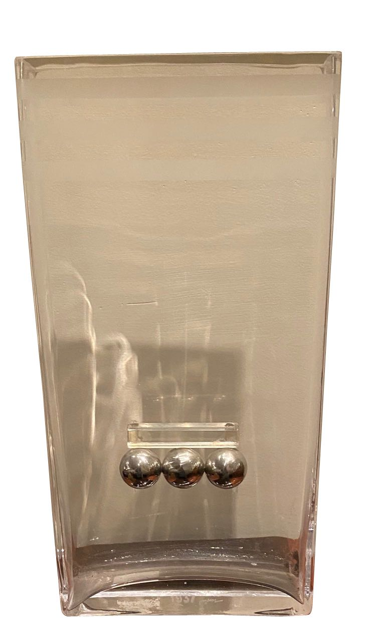French Art Deco Glass and Chrome Streamlined vase by Riecke