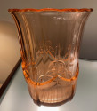 Val Saint Lambert Peach Modernist Olympic Circle Art Deco Vase