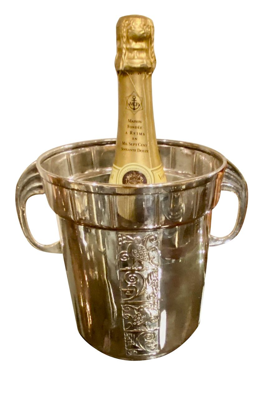 Art Deco Champagne Bucket Silver Plate with Embossed Details