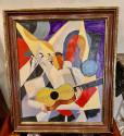 BELA DE KRISTO Art Deco Cubist Oil on Canvas Man Playing Guitar