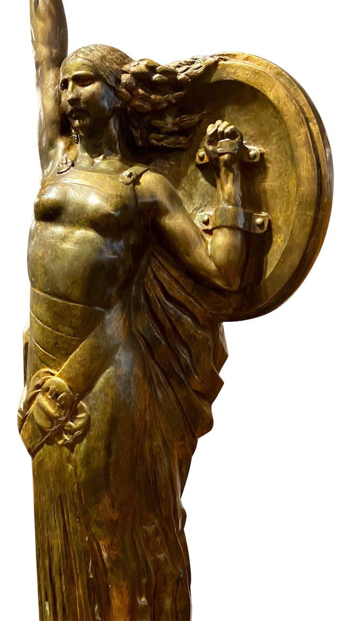 Bronze Statue of Gloire, a Woman in Tribute by Jules Bernaerts