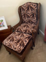Wicker High Back Art Deco Chair and Stool  with Original Fabric