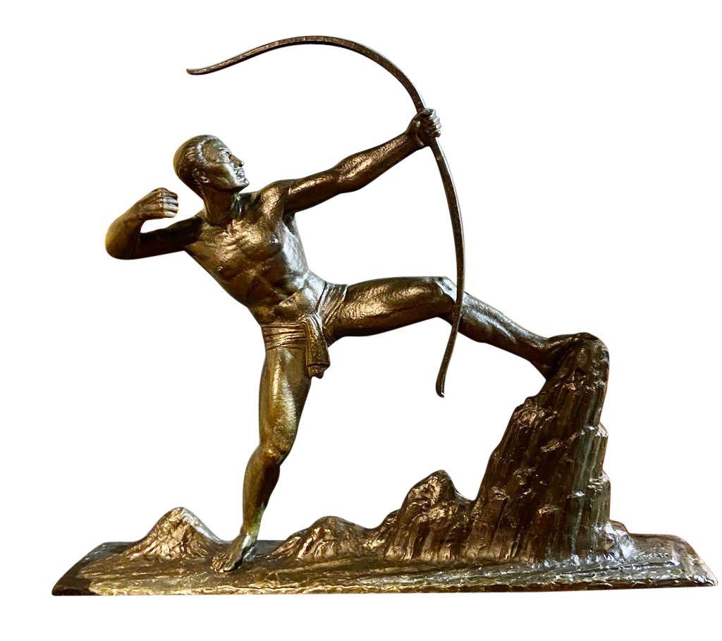 Lucien Gibert Bronze Statue 'The Archer' French Art Deco Sculpture