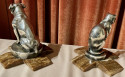 Max Le Verrier Bookends Statues of Dog and Cat French Art Deco