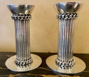 Jean Despres French Silver Plate Candlesticks Chain Design