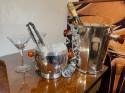 Art Deco Silver Ice Bucket with Bakelite Handles by Osiris