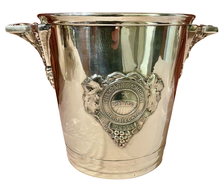 Pair of Silvered Champagne Buckets with Monopole of Reims Insignia