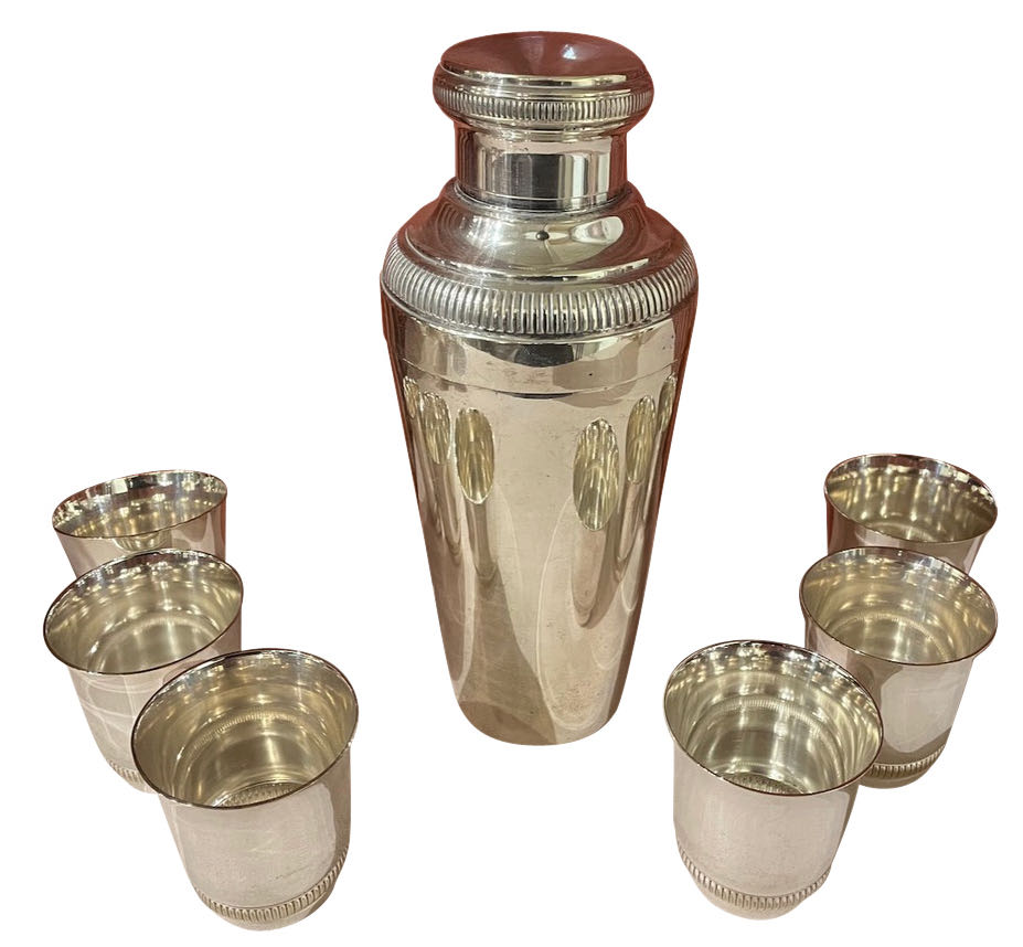 Pair of Silver Cocktail Shakers and Cocktail Cups