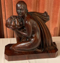 French Art Deco Statue Hand Carved Rosewood Woman & Flowers by G. Verez