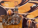 Art Deco Mid Century Whiskey Set with Decanter and Six Glasses from Czechoslovakia
