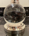 Jacques Adnet and Baccarat Crystal Ball Pair of  Art Deco Table lamps