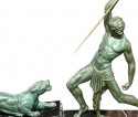 Chiparus 'The Hunter' Large Art Deco Sculpture with Panther 1930