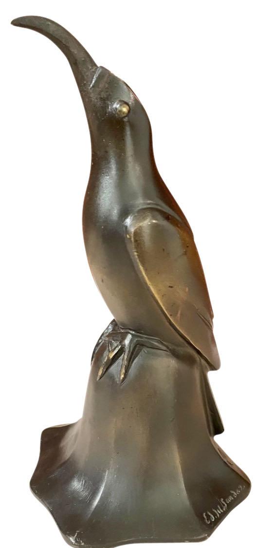 Art Deco Bronze Blue Bird Bell Sculpture by Edouard Marcel Sandoz Cubist French