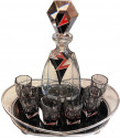 Art Deco Decanter, Six Glasses and Tray by Karl Palda