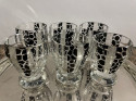 Czech Cocktail Shaker, Glasses and Tray in Black Leopard Pattern