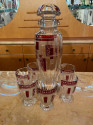 Art Deco Decanter and Glasses by Karl Palda with Red Pattern