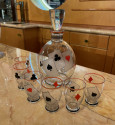 Art Deco Decanter and Glasses with Playing Card Motif