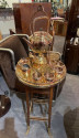 Art Nouveau Tea/Coffee Service in Copper and Brass 9 Pieces with Stand