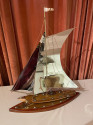 Sailing Boat Sculpture in Copper, Chrome and Brass