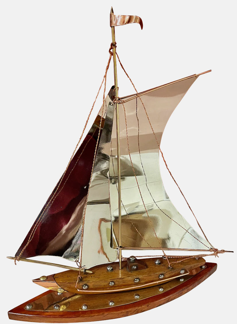 Copper, Chrome, Brass and Wooden Sailing Boat Sculpture