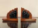 Art Deco Wooden Penguin Bookends