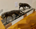 Art Deco Group of Two Panthers by the French Artist Dominique Jean Baptiste Hugues.