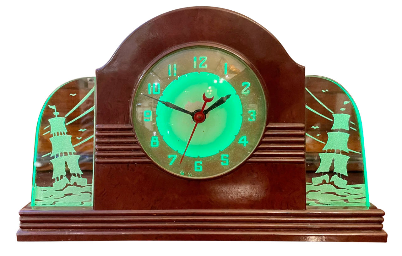 Lackner Neon Glo Art Deco Marbled Brown Catalin Glass Bakelite Clock