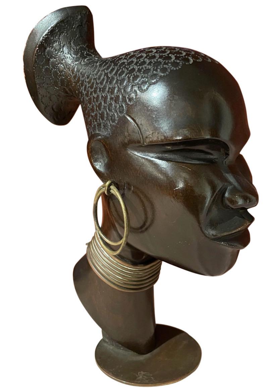 Karl Hagenauer Bronze Wood Sculpture Head of African Woman 1930