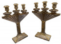 Art Deco Bronze Pair of Candlesticks Silver and Gold