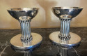 Jean Despres Elegant Candlesticks Signed French Silver Plate Metal
