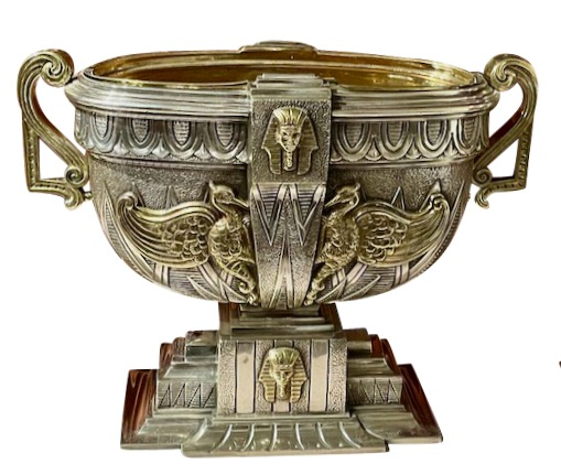 Art Deco Egyptian Revival  Silver and Brass Jardiniere Set