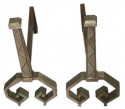 French Art Deco Iron Steel Andirons High Quality Pair