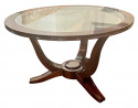 Lelu style Art Deco French Round Wood Coffee Table with Glass Top
