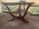 Art Deco French Round Wood Coffee Table with Glass Top