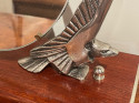 Art Deco Mirror with Eagle Sculpture Supports on Wooden Base