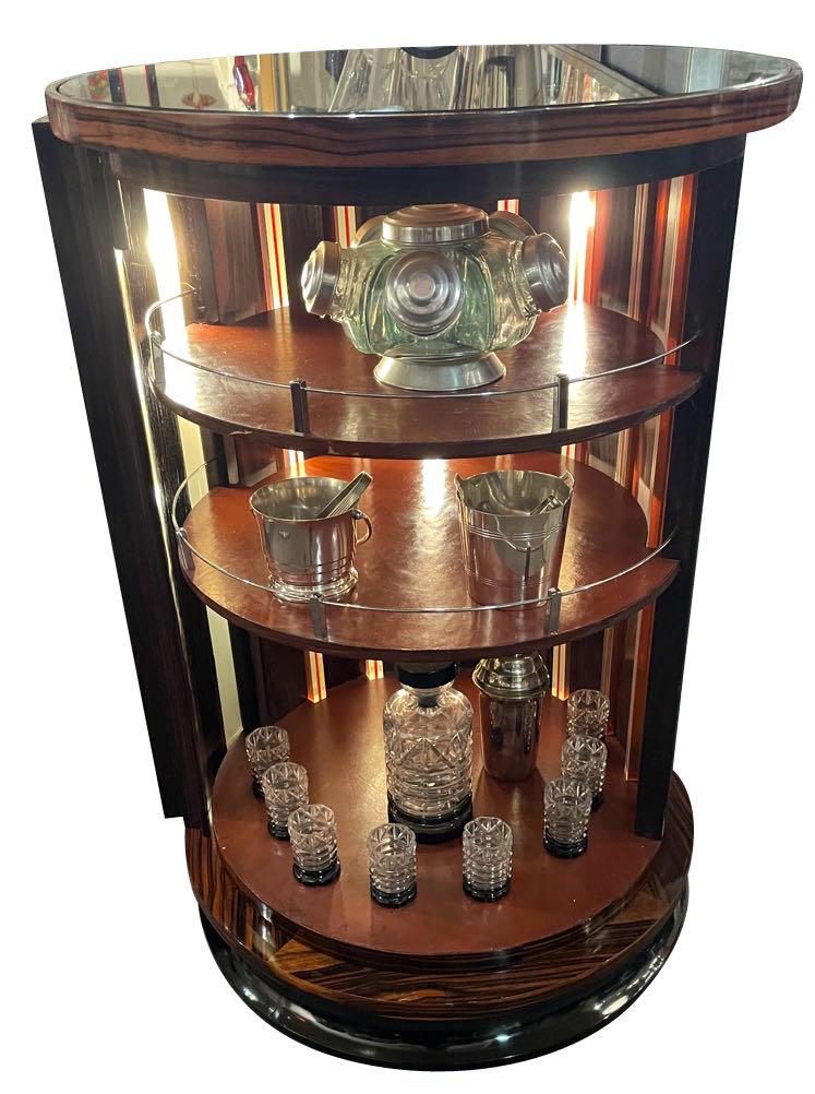 Art Deco Macassar Bar Lights Swivel Opening Storage